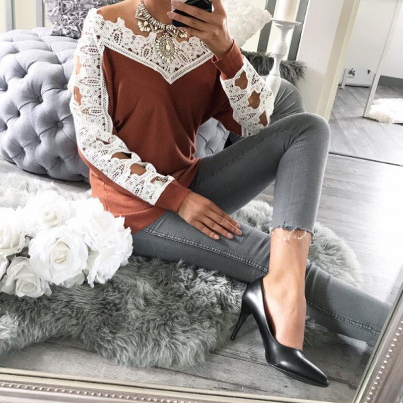Leisure Long Sleeves Lace Trim Patchwork Orange Cotton Tops
