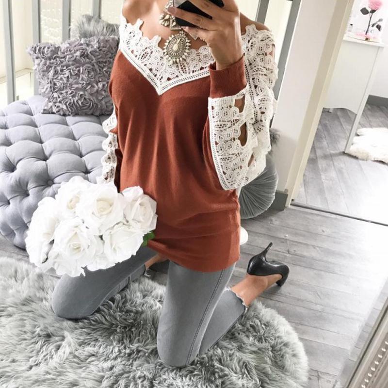 Leisure Long Sleeves Lace Trim Patchwork Orange Cotton Tops