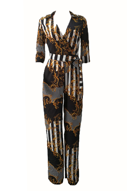 Euramerican V Neck Printed Polyester One-piece Jumpsuits