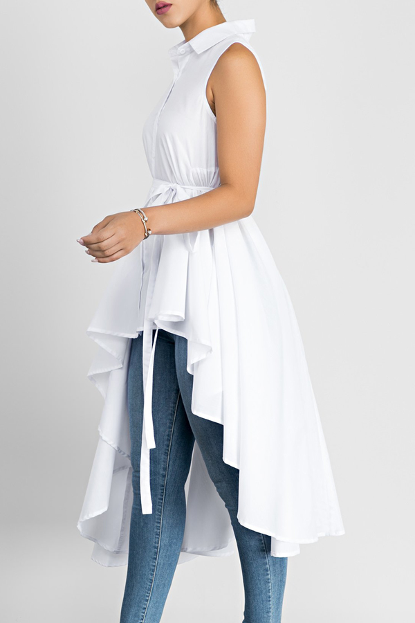 Stylish Turndown Collar Asymmetrical White Cotton Shirts