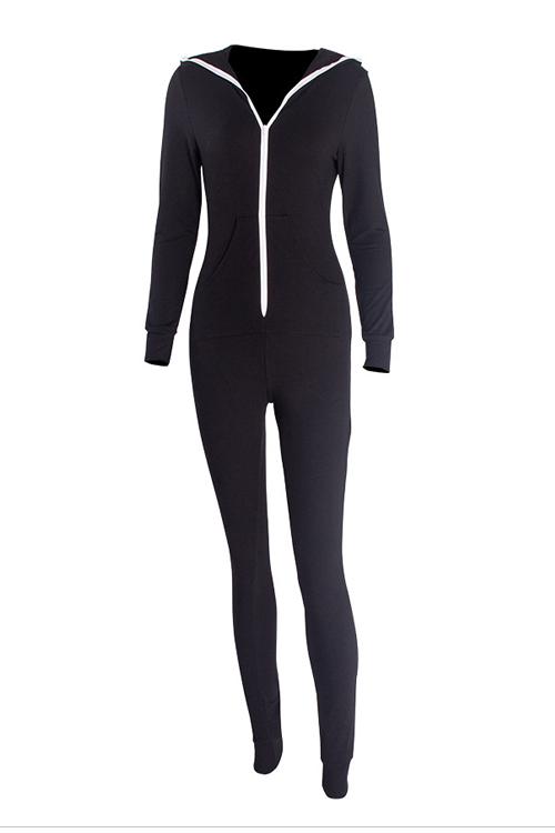 Leisure V Neck Zipper Design Black Cotton One-Piqûres