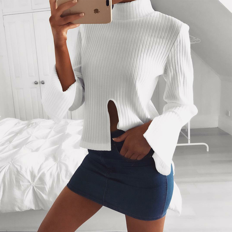 Euramerican Round Neck Long Sleeves Cut-out White Polyester Sweaters
