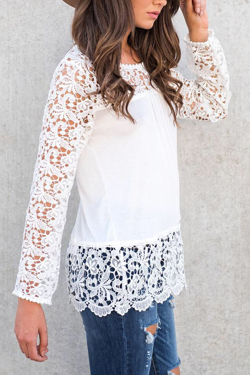 Stylish Lace Trim Patchwork White Cotton Shirts