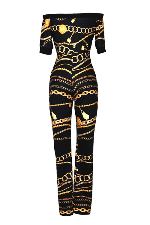 Euramerican Dew Shoulder Chain Printed Black Polyester One-piece Jumpsuits(Without Belt)
