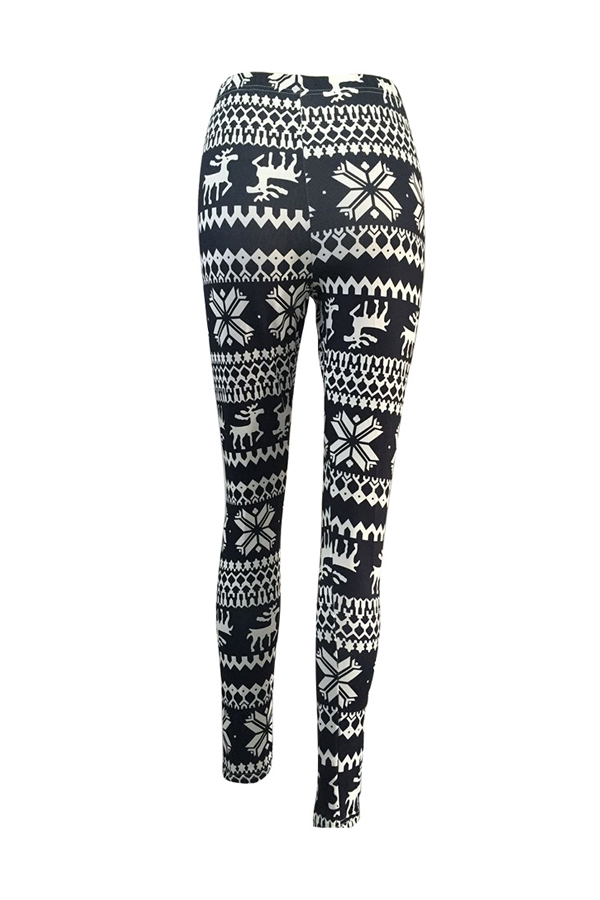 Euramerican Printed Black Polyester Leggings
