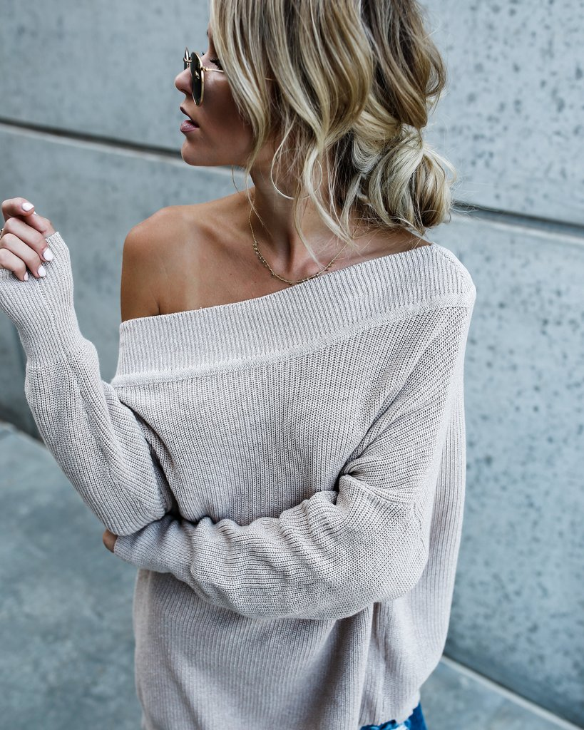 Lovely Casual Dew Shouder Grey Knitting Sweaters