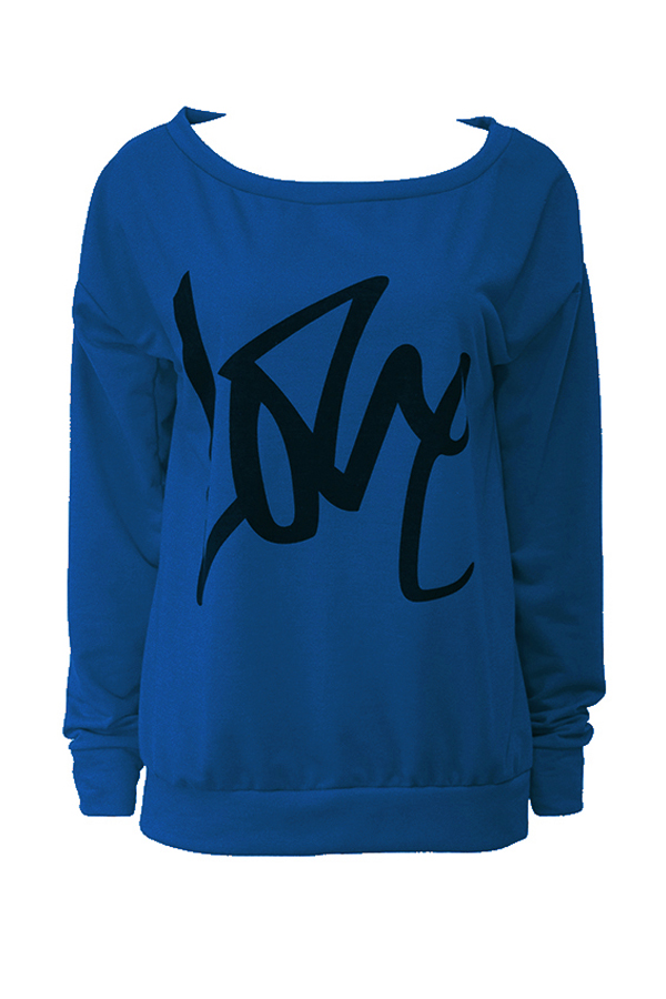 Leisure Round Neck Long Sleeves Letters Printing Royalblue Cotton Pullover