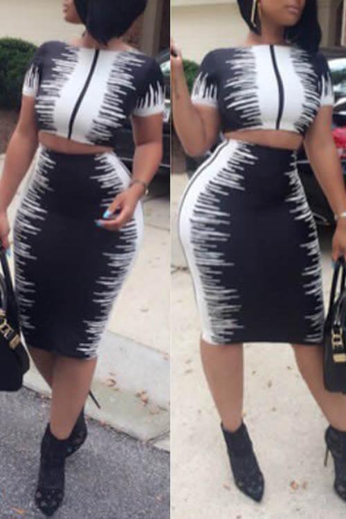 Stylish Round Neck Black-white Printed Polyester Two-piece Skirt Set