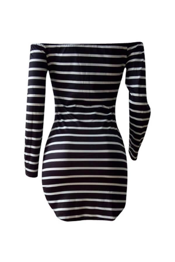 Lovely Euramerican Dew Shoulder Striped Milk Fiber Sheath Mini Dress