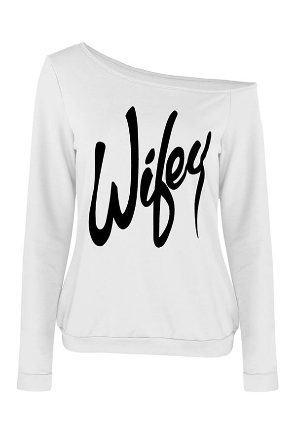 Trendy Dew letras del hombro impresas algodón blanco mezcla prendas de vestir