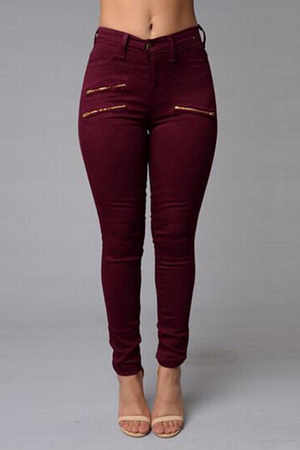 Stylish High Waist Zipper Design Wine Red Denim Pants