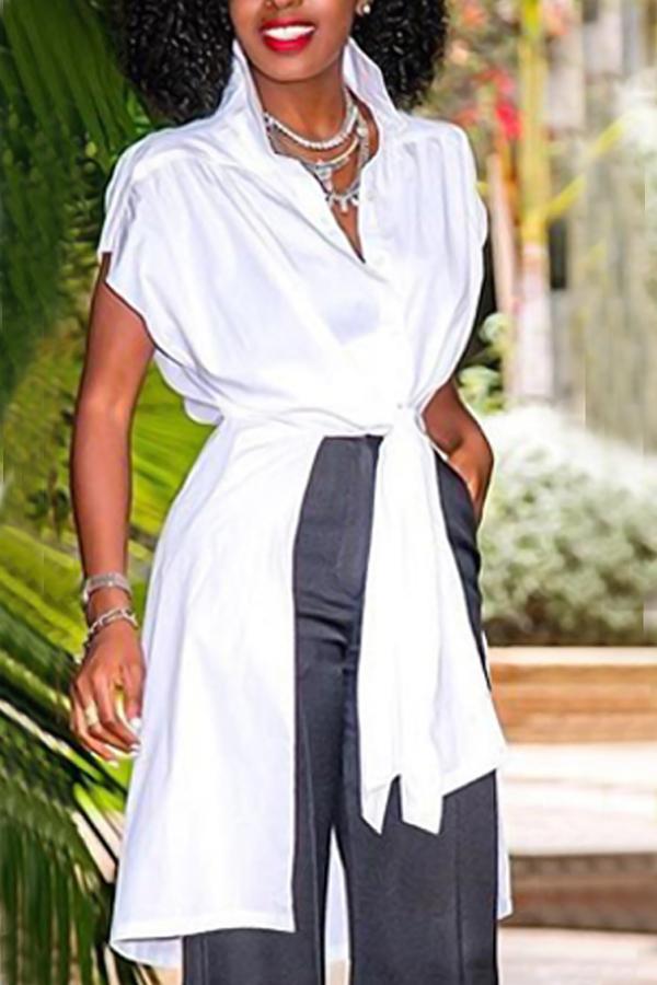 Elegante Cuello De Cisne Asimétrico Camisas De Poliéster Blanco