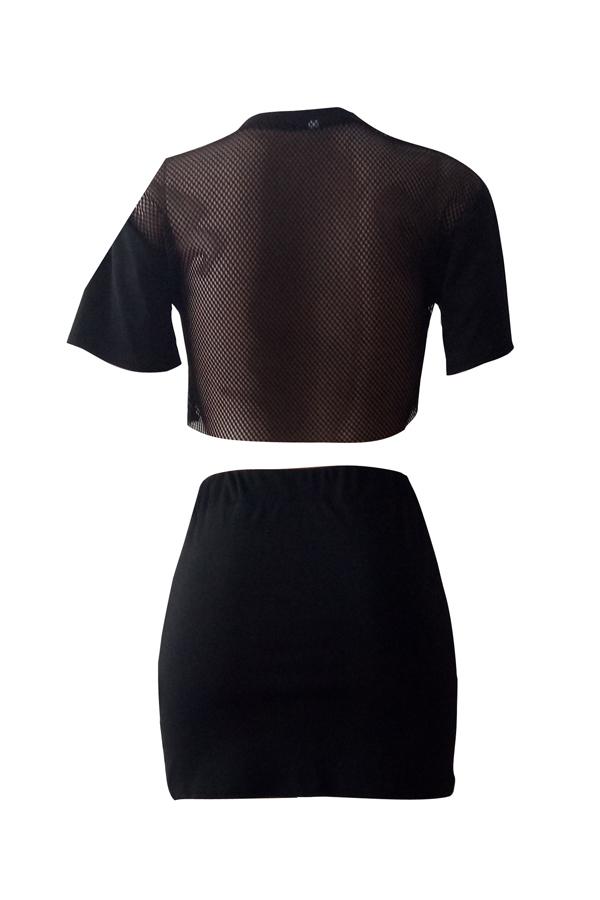 Sexy Conjunto De Falda De Dos Piezas De Poliéster Negro Y Cuello Redondo Estampado