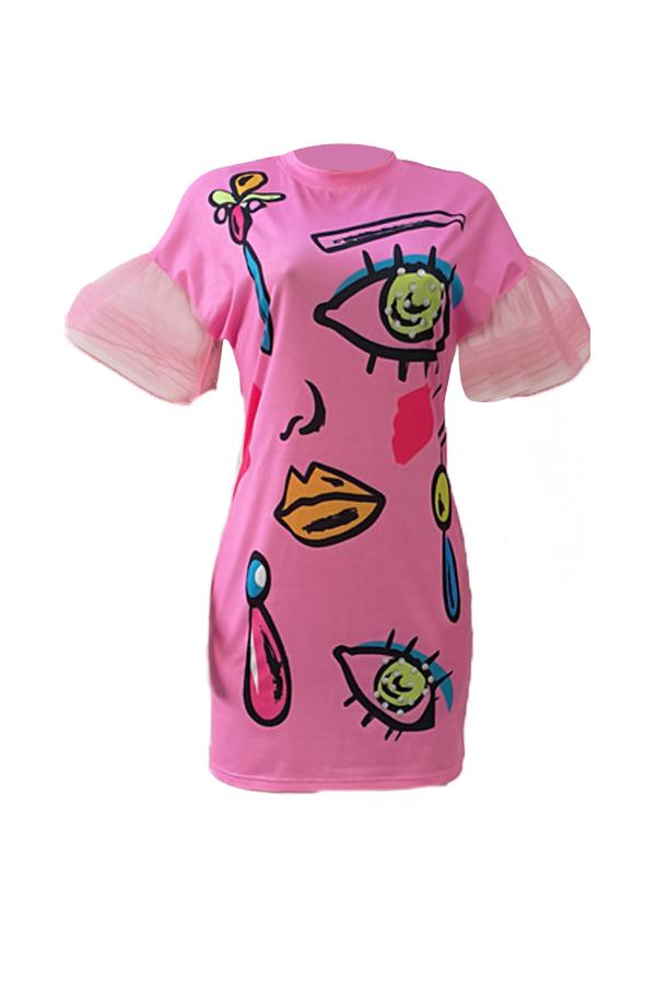 Euramerican Round Neck Short Sleeves Printed Pink Polyester Sheath Mini Dress