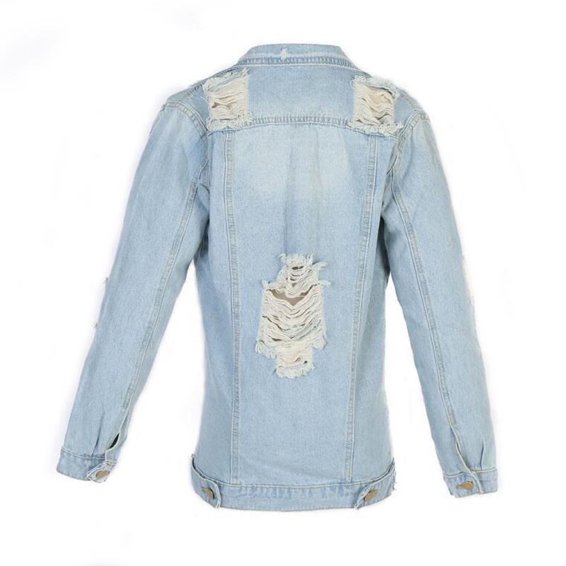 Trendy Turndown Collar Broken Holes Light Blue Denim Coat