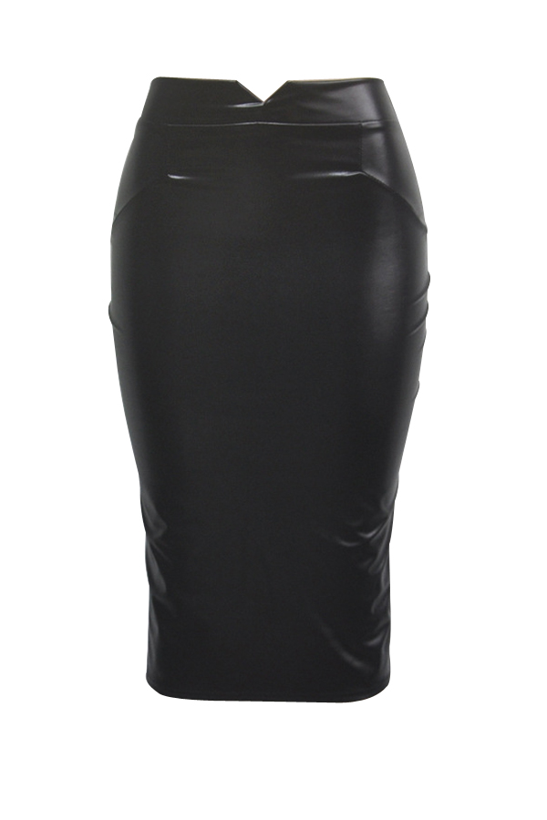 Trendy High Waist Black Leather Sheath Knee Length Skirts