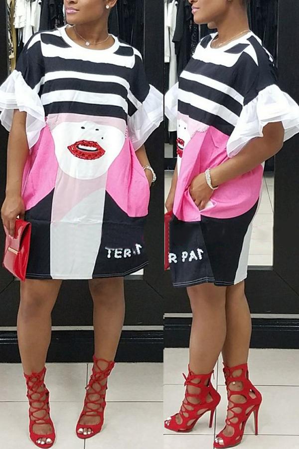 Стильный шею печатных белый полиэстер колен платье