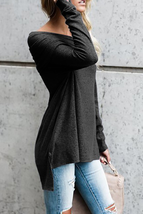 Off The Shoulder Solid Casual T-shirt