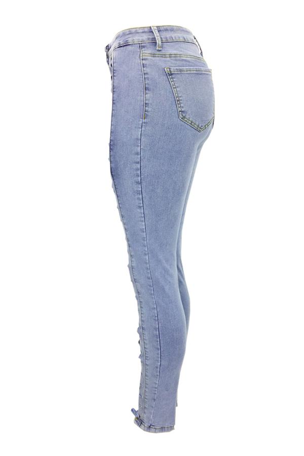 pantalones vaqueros con cremallera sólida