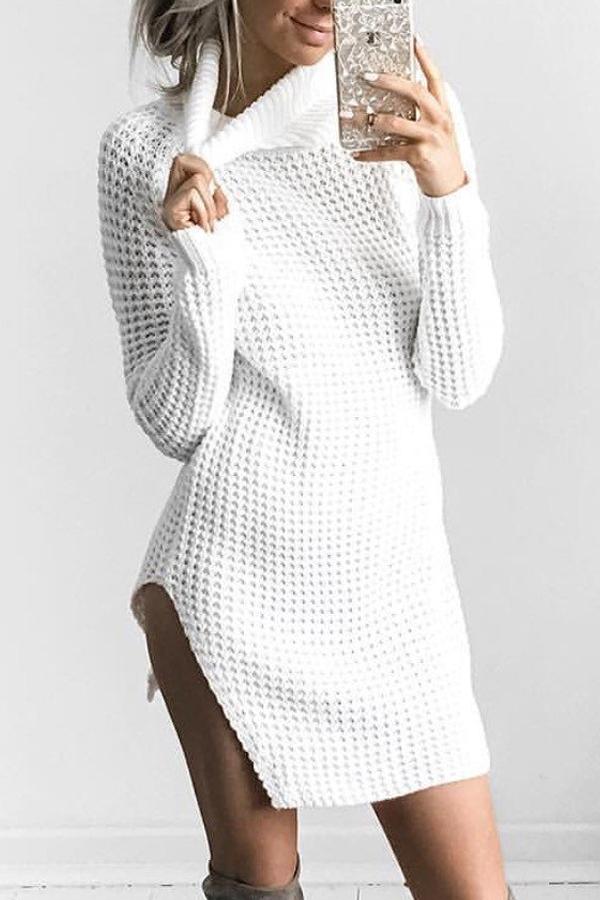 Polyester Casual Turtleneck Cap Sleeve Long Sleeve Sheath Mini Dresses Dresses <br><br>