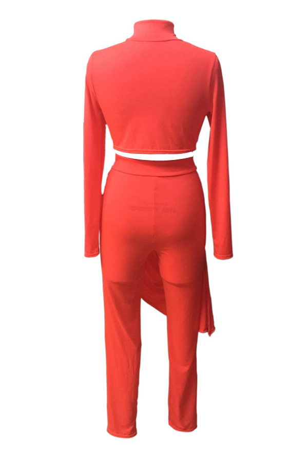Euramerican Round Neck Asymmetrical Red Milk Fiber Conjunto de calças de duas peças