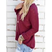 Euramerican V Neck Long Sleeves Wine Red Knitting