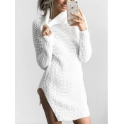 Euramerican Turtleneck Long Sleeves White Knitting