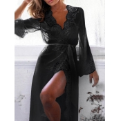 Sexy V Neck Gauze Splicing Black Lace Night-robe