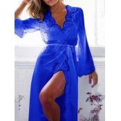 Sexy V Neck Gauze Splicing Blue Lace Night-robe