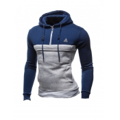 Leisure Long Sleeves Patchwork Blue Cotton Hoodie