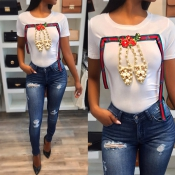 Lovely Leisure Round Neck Short Sleeves Pearl Deco