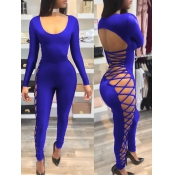 Sexy Round Neck Hollow-out Royalblue Milk Fiber One-piece Skinny Jumpsuits