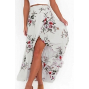 Trendy High Waist Printed Asymmetrical White Polye