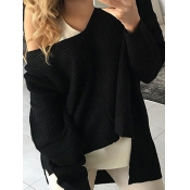 Trendy V Neck Long Sleeves Asymmetrical Black Cott