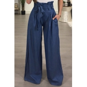 Stylish High Waist Drawstring Ligh Blue Cotton Pan