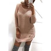 Trendy V Neck Broken Holes Pink Blending Sweaters