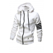 Leisure Hooded Collar Long Sleeves Zipper Design W