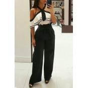 Stylish High Waist Black Cotton Pants(With Belt)