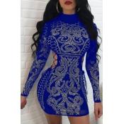 Sexy Hollow-out Rhinestone Decorativo Poliéster Azul Mini vestido