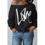 Lovely Leisure Round Neck Long Sleeves Letters Printing Black Cotton Pullover