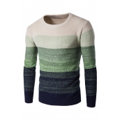 Euramerican Round Neck Patchwork Green Acrylic Swe