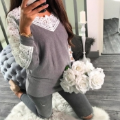 Leisure Long Sleeves Lace Trim Patchwork Grey Cott
