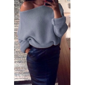 Euramerican Round Neck Long Sleeves Grey Acrylic S