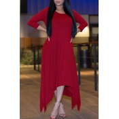 Leisure Round Neck moitié manches Asymétrique Win Red Polyester Ankle Length Dress
