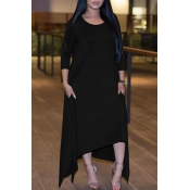 Leisure Round Neck Half Sleeve Asymmetrical Black Polyester Ankle Length Dress