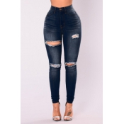 Stylish High Waist Broken Holes Blue Denim Pants