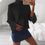 Euramerican Round Neck Long Sleeves Cut-out Black