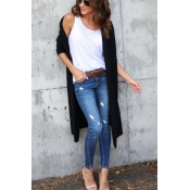 Leisure Long Sleeves Black Cotton Cardigans