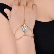 Fashion Rhinestone Decorative Gold Metal Bracelet