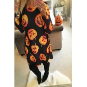 Halloween Long Sleeves Pumpkin printing Casual Dre